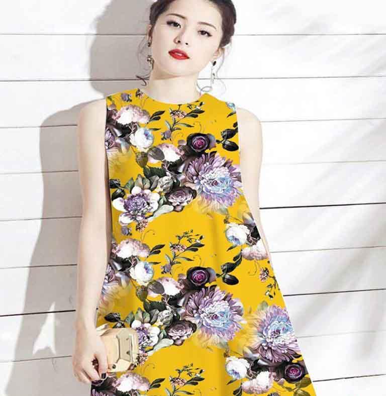 Váy liền chữ A có rất nhiều hoa văn phù hợp với bạn