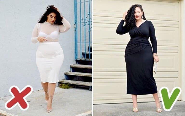 Với người mập nên chọn đầm tối màu để che đi khuyết điểm của cơ thể