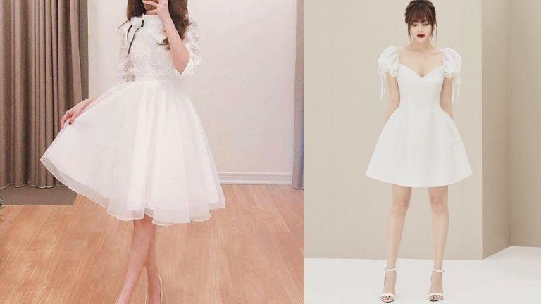 Váy màu trắng, nhẹ nhàng, nữ tính