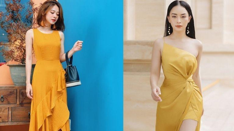 Váy dự tiệc cưới thiết kế màu vàng sang trọng