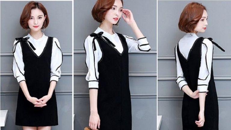 Mẫu váy yếm kết hợp cùng áo sơ mi